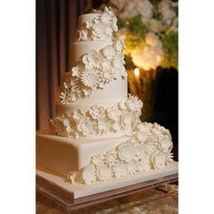 Cascading Flowers White Fondant Wedding Cake #sweettheacakes #weddingcake #cake #wedding