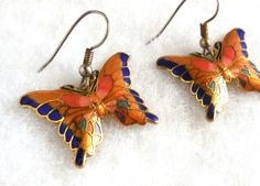 Vintage Butterfly Earrings Enamel Cloisonne Victorian Revival Art Nouveau Summer Garden Party Nature Gold Blue Orange by JewlsinBloom on Etsy