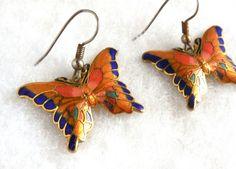 Vintage Butterfly Earrings Enamel Cloisonne Victorian Revival Art Nouveau Summer Garden Party Nature Gold Blue Orange by JewlsinBloom on Etsy