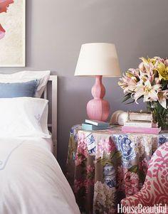 Double-gourd pink lamp by Christopher Spitzmiller. Design: Joe Nye