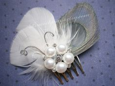 Ivory Wedding hair accessory Feather fascinator bridal