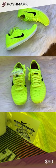 Nike Free Run Flyknit MS Sneakers Woman's Nike free Run Flyknit ms Sneakers Style: 842546-700 Volt yellow, black and white New with original box Size 8 Nike Shoes Sneakers