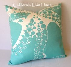 "CUSTOM LISTING for JANET / Coastal Octopus Pillow Cover / Outdoor Fabric / Turquoise / 4- 20"" x 20"". $152.00, via Etsy."