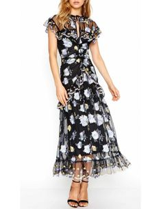Black floral dress for wedding guests Best Wedding Guest Dresses, Black Wedding Dresses, Derby Day Fashion, Dressed To Kill, Casual Dresses, Nice Dresses, Girls Dresses, Fashion Dresses, Alice Mccall