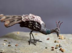 Peahen, Custom Made to order. Felt Peahen, Brown Peacock sculpture Fibre Arts Bird. Autumn browns, embroidered wool, nature woodland animal.