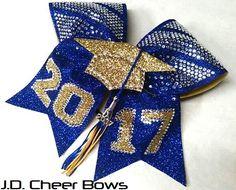 The Original 3D 2017 Deluxe Graduate/Tassel Bow-Choose your Colors, Graduation Bow, Graduate Bow, Senior Bow, Senior Cheer Bow, Grad Bows by JDCheerBows on Etsy