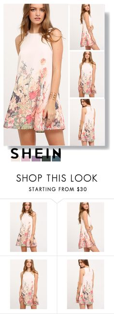 """shein floral tank dress"" by katarinaf ❤ liked on Polyvore featuring Elegant, shein and summer2017"