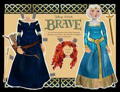 "Merida paper doll from Disney's ""Brave"""