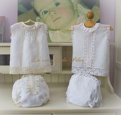 Blusita y cubre pañal en hilo italiano blanco con encajes de alençon beige, segundo modelo en plumetty 100% algodón blanco con bodoque bordado en blanco y encajes de alençon francés blanco