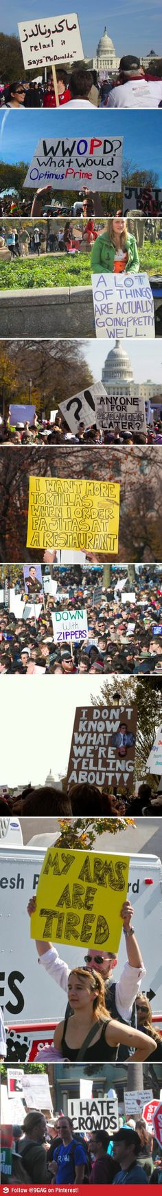 haha These look like they should have been at The Daily Show's Rally for Sanity. ;)