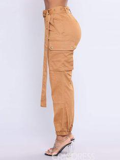 324cdb03f2e Ericdress Plain Belt Loose Pocket Women s Pants Pantalones De Vestir