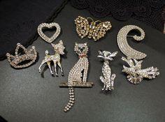Vintage rhinestone jewelry lot figural animal brooch lot cat deer fawn butterfly czech clear rhinestone pave jewelry isj ml4. $125.00, via Etsy.