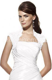 Fancy Applique White Matte Satin  Wedding Jacket