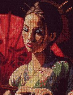 point de croix visage de geisha - cross stitch geisha's face