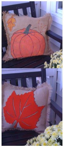 pumpkin is painted on burlap.  felt leaf is glued & stitched on burlap.