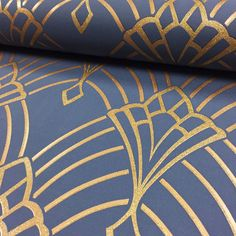 Astoria Deco Wallpaper Dark Blue and Gold Rasch 305340 Blue Wallpaper Bedroom, Blue And Gold Wallpaper, Sparkle Wallpaper, Art Deco Wallpaper, Trendy Wallpaper, Blue Wallpapers, Blue And Gold Bedroom, Dark Blue Bedrooms, Neutral Bedrooms