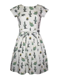 Cute new Cactus dress by Run & Fly from www.thunderegg.co.uk <3 This beautiful print features a variety of illustrated cacti. Team it up with boots and your favourite satchel!