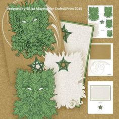 Silver Gold Greenman Yule Decoupage Pyramage Mini Kit - This kit features a shaped pyramage leafy Greenman face adorned with acorns and a coordinated insert. The card can either be created as a shaped greeting or mounted onto the included 5x7 backer for a more traditional card.  Art by Hafapea & Dover.  #CardMakingKits #CraftsUPrint #LisaMayette #Hafapea
