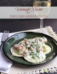 Weeknight Ravioli with Spinach, Salmon, and Boursin Cheese Sauce | EricasRecipes.com