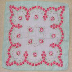 Mint and pink vintage hankie