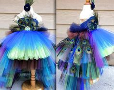 Peacock Tutu Costume Pageant Party Portrait Dress with real Peacock Feathers Long Layers Christmas Gift New Years