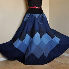 Mad for Blues  Long Patchwork Denim Skirt Ooak by BarefootModiste, $150.00