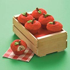 Apple Cupcakes - http://familyfun.go.com/recipes/dessert-recipes/other-desserts/candy-recipes/apple-of-our-eye-919263/