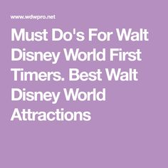 Must Do's For Walt Disney World First Timers. Best Walt Disney World Attractions