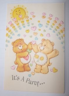 Vintage 1980's Care Bears It's A Party invitation Carlton Cards Toronto Canada #CarltonCardsCareBearsPartyinvitation