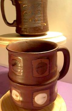 Two Mis Matched Mid-Century Stoneware Coffee Mugs Made in Japan