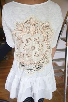 DIY shirt makeover. Op shop finds or Grandma's treasures.