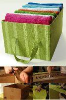 Recicla cualquier caja de cartón de andar por casa, fórrala del color que más te guste y conviértela en una caja organizadora.