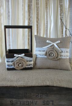 Flower Girl Basket Ring Bearer Pillow Set Shabby Chic Wedding Rustic Wedding Burlap and Lace