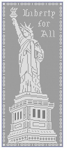The Statue of Liberty in Filet-Crochet by Mary Card.