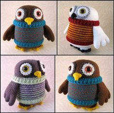 This cute flappy owl (love the sweater!) and other sweet amigurumi patterns available for purchase.
