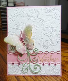 Beautiful Candy Butterfly Card...with lovely embossing and a vellum butterfly...jandjccc - Cards and Paper Crafts at Splitcoaststampers.