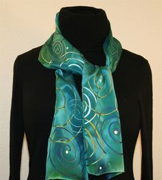 scarves | Turquoise Hand Painted Silk Scarf with Spirals - photo 2