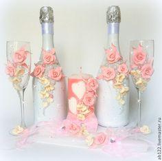 Купить Свадебные аксессуары.Айвори-розовый набор. - розовый, свадебные аксессуары, свадебные бокалы с лепкой