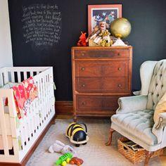 Sophisticated and simple nursery CHALK WALL IN THE NURSERY.  Brilliant. They'll love it as they grow Nursery Room, Boy Room, Kids Bedroom, Kids Rooms, Nursery Decor, Nursery Furniture, Men Bedroom, Chic Nursery, Nursery Design