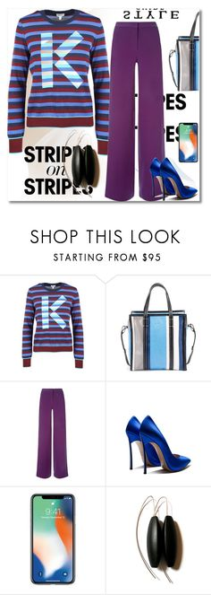 """Stripes on Stripes"" by ilona-828 ❤ liked on Polyvore featuring Kenzo, Balenciaga, La Perla, polyvoreeditorial, stripesonstripes and PatternChallenge"