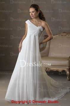 Glamour Chiffon One Shoulder Strap Wedding Dress with Floral and Drape Detail