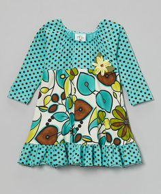 Look what I found on #zulily! Teal Leaves Ruffle-Hem Dress - Toddler & Girls #zulilyfinds
