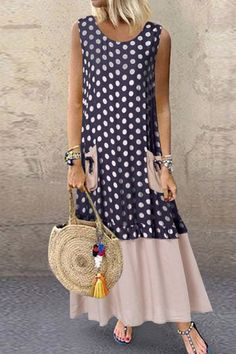 Shopping Casual Round Neck Patchwork Sleeveless Dress online with high-quality and best prices Maxi Dresses at Luvyle. Vetement Fashion, Dress P, Dresses Online, Fashion Dresses, Hijab Fashion, Sexy Women, Short Sleeve Dresses, Sleeveless Dresses, Plus Size
