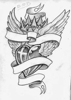 Heart Swirled In Crown Tattoo Design Photo