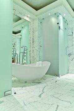 IBB Design Fine Furnishings - modern - bathroom - dallas - by IBB Design Fine Furnishings - LOVE the bathtub Green Marble Bathroom, White Bathroom, Modern Bathroom, Small Bathroom, Chevron Bathroom, Marble Wall, Marble Floor, Carrara Marble, Ibb Design
