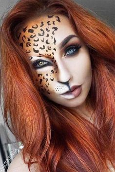 39 Sexy Halloween Makeup Looks That Are Creepy Yet Cute Wild World – Half Face Leopard Makeup Idea It's time to get inspired by Halloween makeup! Easy and creepy ideas are here: from cute princess and unicorn to scary vampire, doll, and mermaid looks. Beautiful Halloween Makeup, Creepy Halloween Makeup, Scary Makeup, Halloween Looks, Gorgeous Makeup, Leopard Halloween Makeup, Halloween Halloween, Mermaid Halloween Makeup, Cheetah Makeup