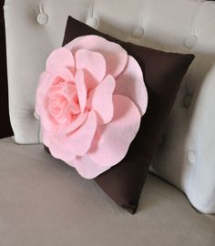 Pink Rose on Brown Pillow 14x14 Throw Pillow by bedbuggs on Etsy, $31.00