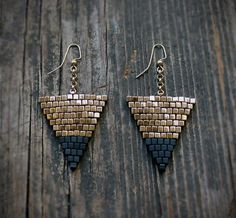 Gold and Black Large Triangle Beaded Earrings: