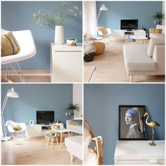 Ideas for Decorating a Living Room in Denim Denim Drift Living Room, Living Room Furniture, Living Room Decor, Living Room Throws, Blue And White Living Room, Furniture Covers, Living Room Colors, Interior Walls, Creative Decor