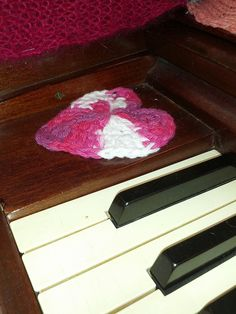 Keyboard heart on the #Yarnburners' #yarnbombed #piano - soon able to be played in #Indianapolis, #Indiana!  (This particular piece is #crochet.)